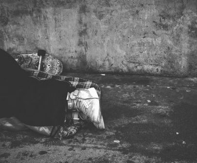 Homeless Person-black-and-white-Sleeping Rough