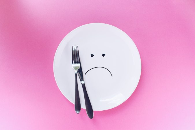 Sad face plate with silver knife and fork Bad reviews Business Support