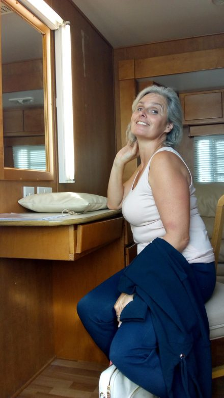 Nicola Supporting Artist sitting in Trailer on set