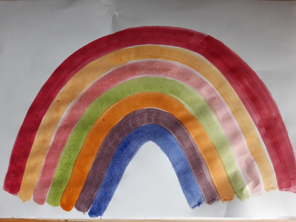 Painted picture of a rainbow, red, yellow and pink and green, orange and purple and blue My Words Work For You copywriting